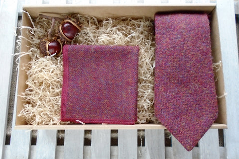 Red Herringbone Tweed Tie Gift Box