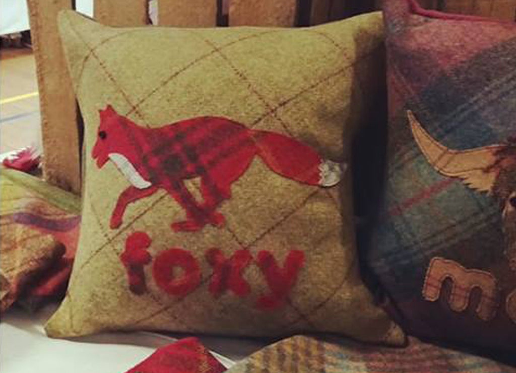 Foxy Fox Tweed Cushion- crisp sage