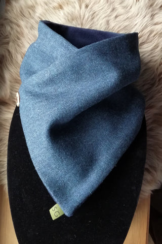 Classic Tweed Snood - Blue Herringbone