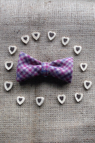 Doggy Bows- Pink Houndstooth