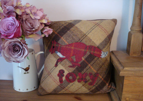 Foxy Fox Tweed Cushion- Toffee Apple