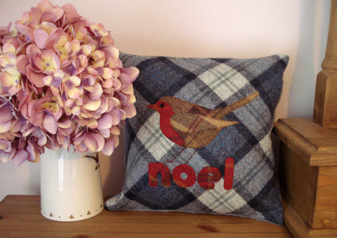 Festive Robin Tweed Cushion- Blueberry