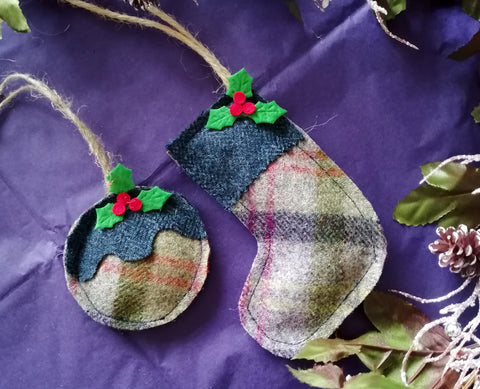 Tweed Christmas Decoration- Thistle