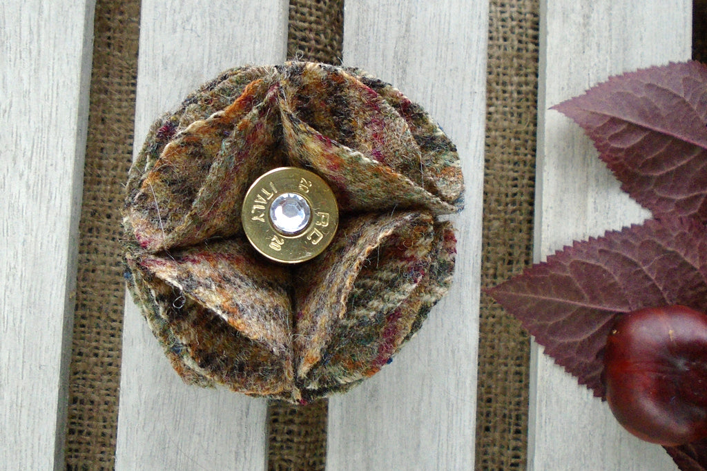 Sporting Tweed Brooch - Taupe & plum
