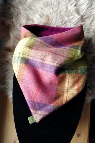 Classic Tweed Snood - Fruit Salad check- Plum Fleece