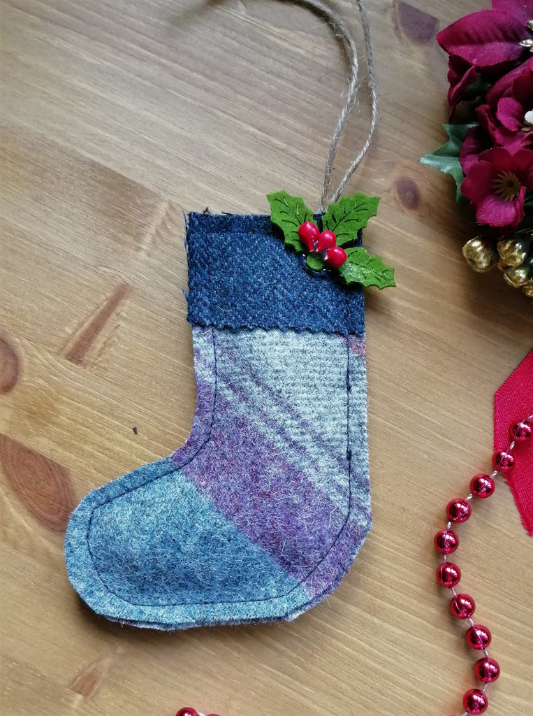 Tweed Christmas Stocking-Blue Stripe