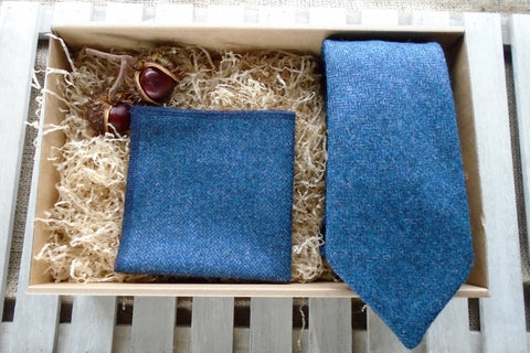 Navy Tweed Tie Gift Box