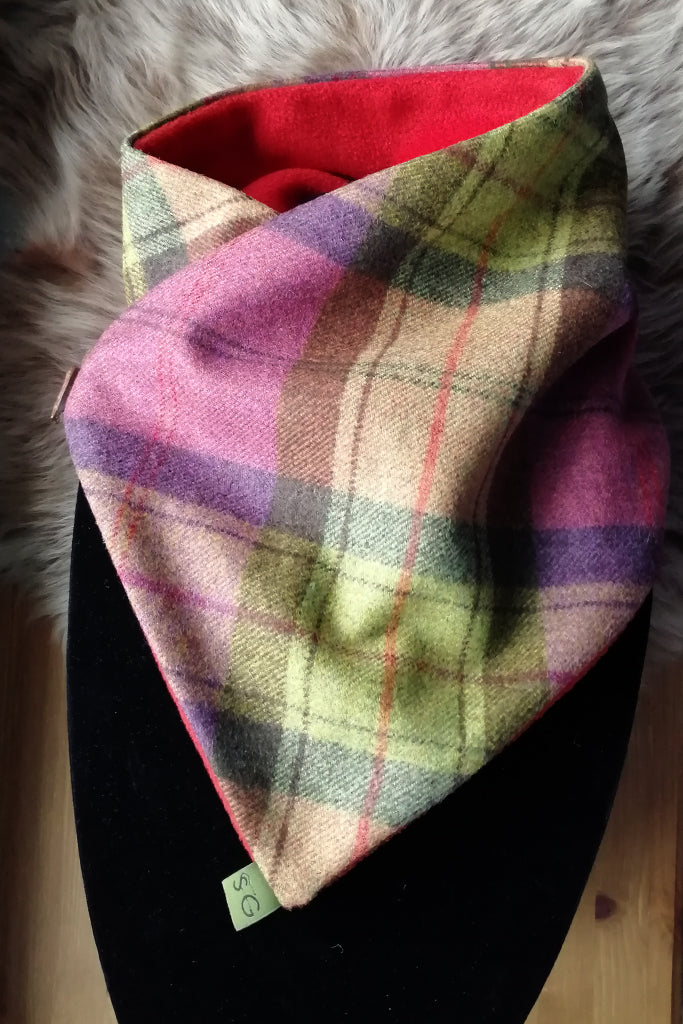 Classic Tweed Snood - Fruit Salad check- Rust Fleece