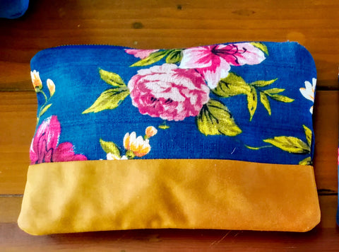 Clutch Bag Navy & Tan Floral