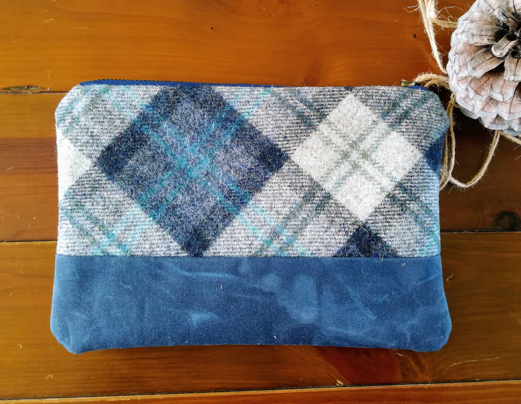 Clutch Bag Tweed Blueberry Check