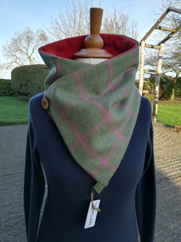 Classic Tweed Snood - Avacado Green with a Rust & Pink Check