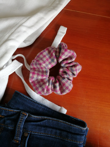 Hair Scrunchie- Pink Houndstooth