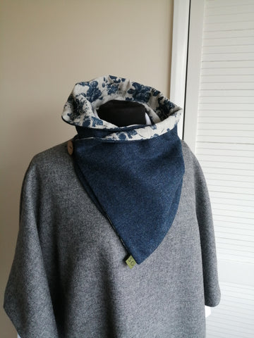 Sustainable Snood - Navy & Blue Floral
