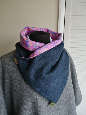 Sustainable Snood - Navy & Pink Spot