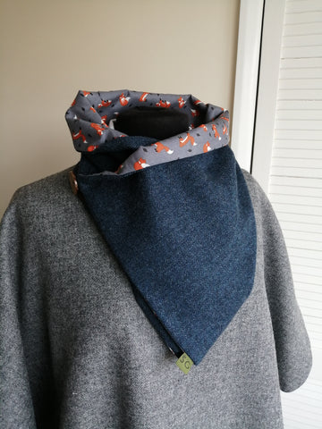 Sustainable Snood - Navy & Fox Print
