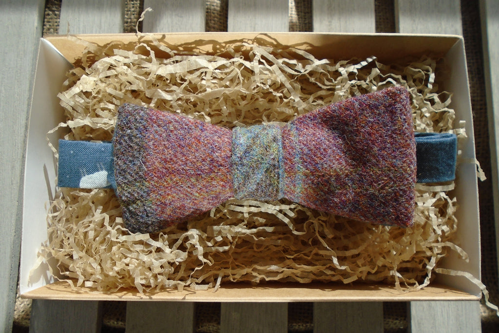 Bow Tie - Mole tweed with Blue Sheep Print