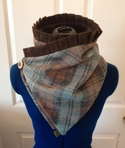Jessica Suede Tweed Snood - Duck Egg Blue