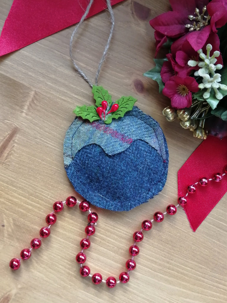 Tweed Christmas Pudding- Blue Herringbone