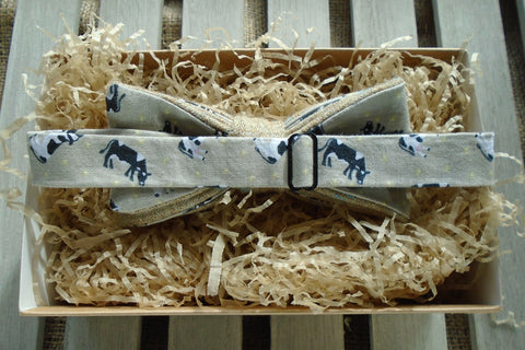 Bow Tie -Natural Tweed with Cow Print