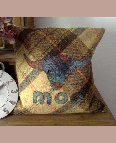 Highland Moo Cow Tweed Cushion- Toffee Apple