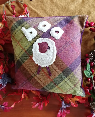 Wooly Sheep Tweed Cushion- fruit salad