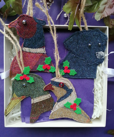 Tweed Christmas Collection of Game Birds and Labrador