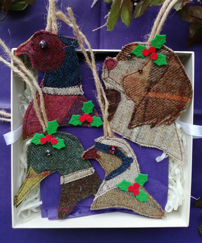 Tweed Christmas Collection of Game Birds and Spaniel