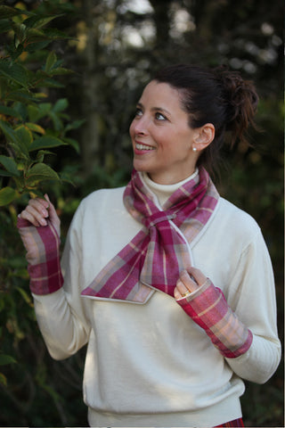 Alice Scarf - Raspberry Check