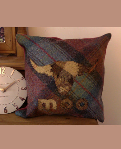 Highland Moo Cow Tweed Cushion- Mole