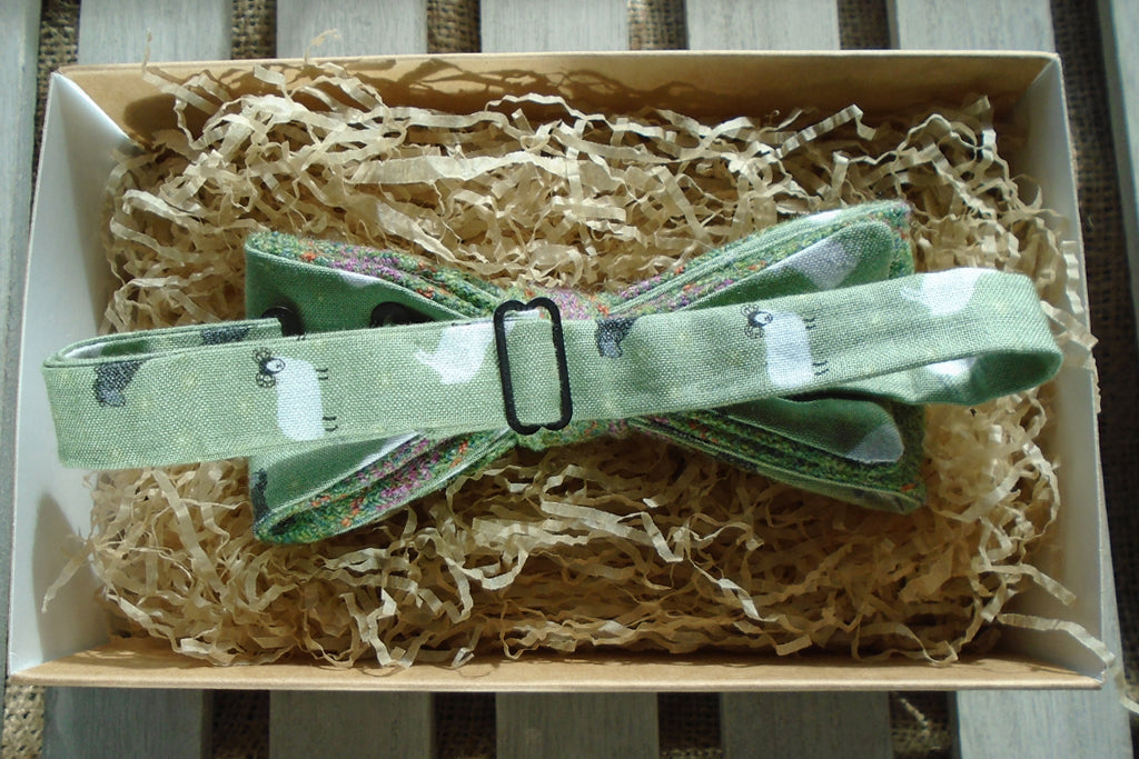 Bow Tie - Thistle tweed with Green Sheep Print