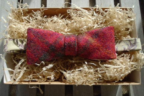Bow Tie -Chilli Tweed with Antler Print