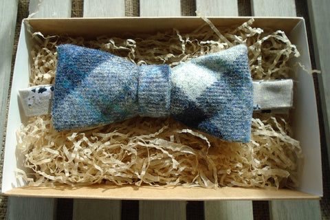 Bow Tie -Blueberry Tweed with Cow Print