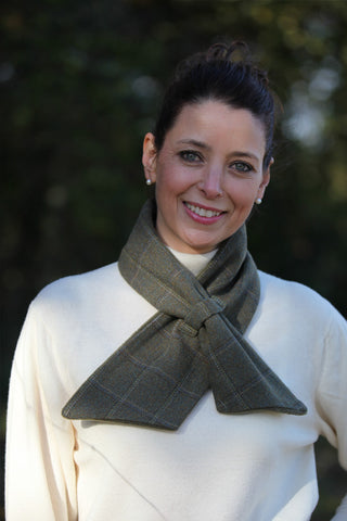 Alice Scarf - Olive, White & Blue Check