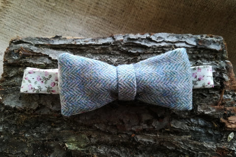 Bow Tie - Blue Herringbone