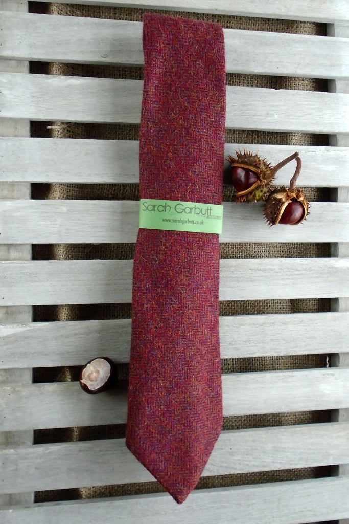 Sporting Tweed Ties-  Red Herringbone