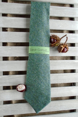 Sporting Tweed Ties-  Olive Green Herringbone