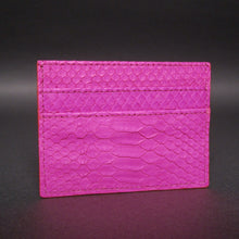 Load image into Gallery viewer, Bee In Style Fuchsia Snakeskin Python Slot Card Holder