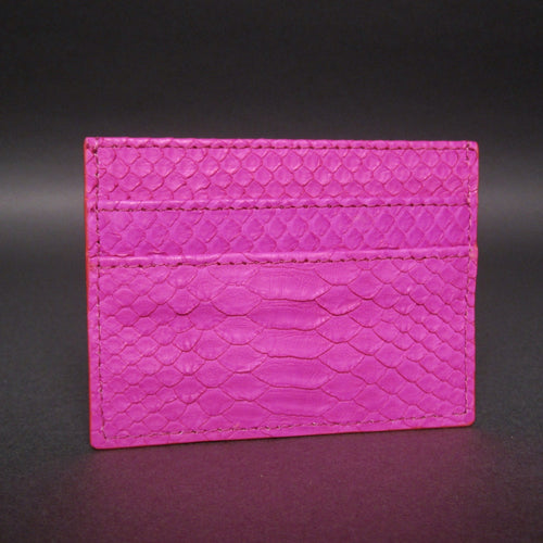 Bee In Style Fuchsia Snakeskin Python Slot Card Holder