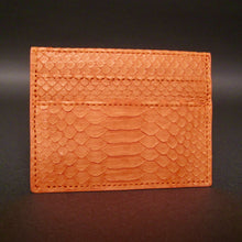 Load image into Gallery viewer, Bee In Style Orange Snakeskin Python Slot Card Holder