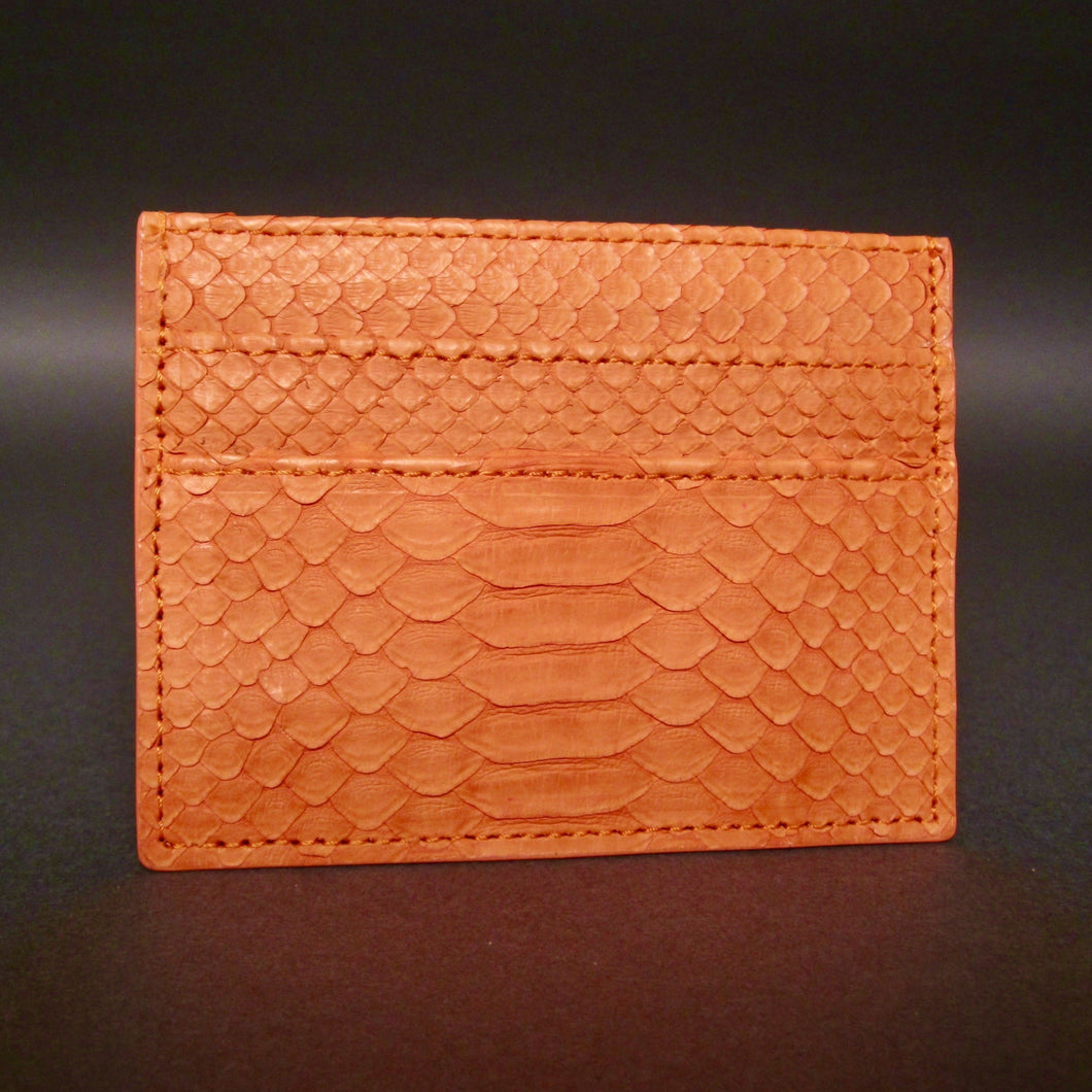 Bee In Style Orange Snakeskin Python Slot Card Holder