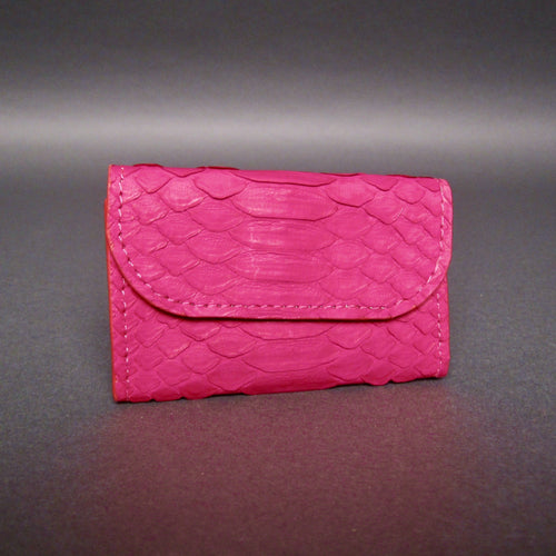 Bee In Style Vibrant Fuchsia Snakeskin Python Card Holder