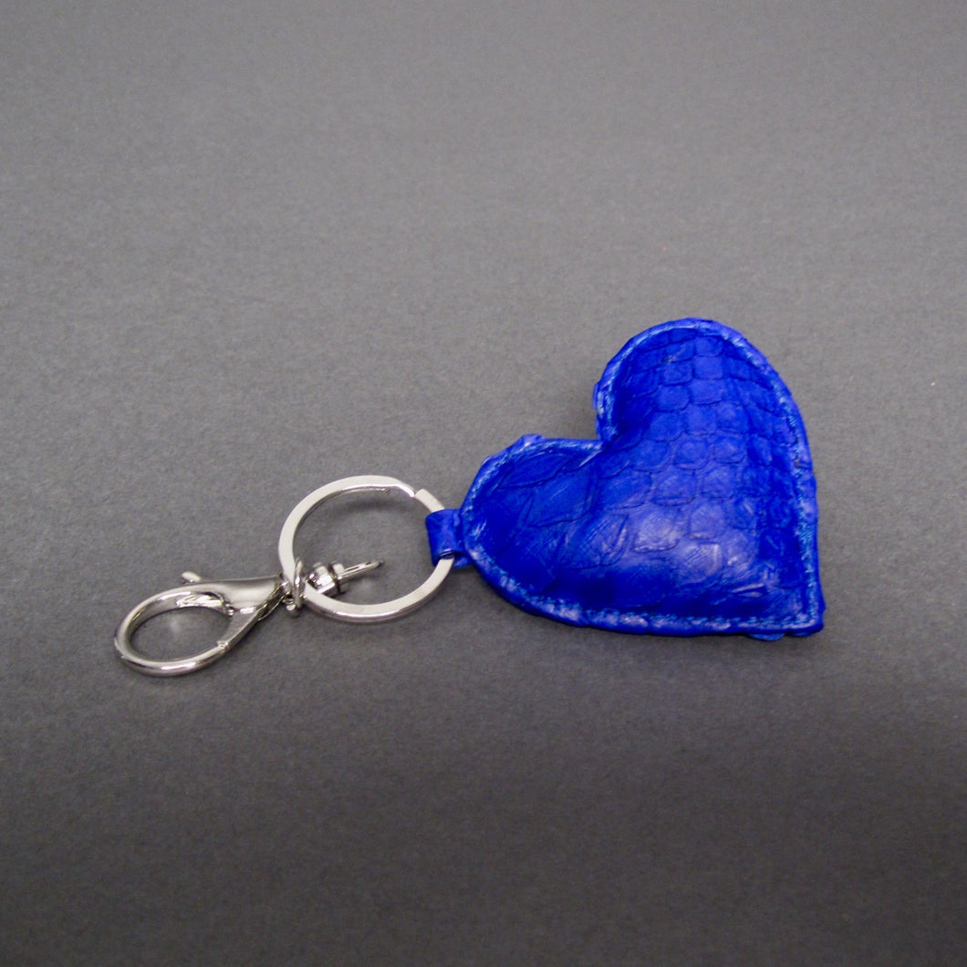 Bee In Style Blue Cobalt Snakeskin Python Heart Key Holder and Charm