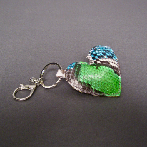 Bee In Style Multicolor Snakeskin Python Heart Key Holder and Charm