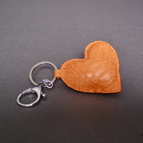 Bee In Style Orange Snakeskin Python Heart Key Holder and Charm