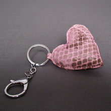 Load image into Gallery viewer, Bee In Style Pink Motif Snakeskin Python Heart Key Holder and Charm