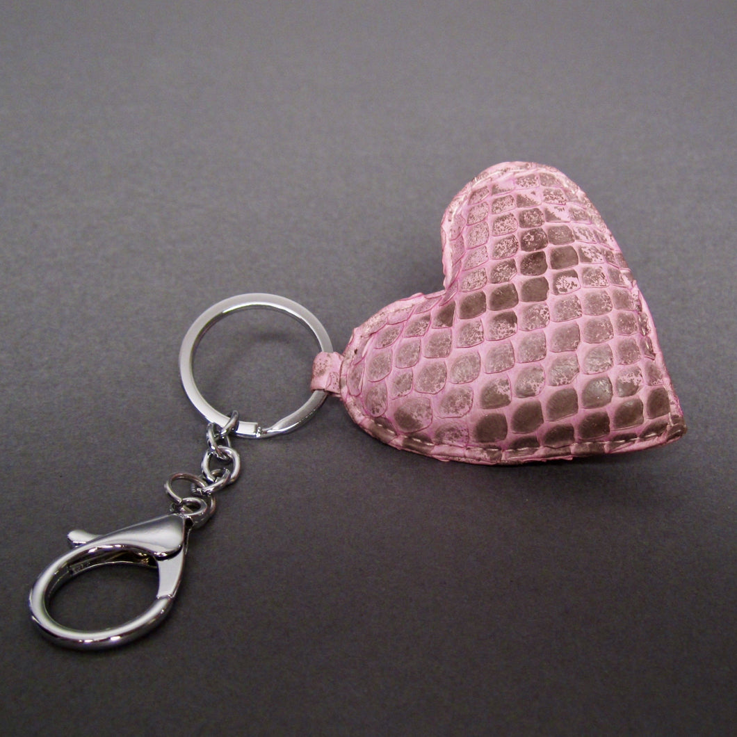 Bee In Style Pink Motif Snakeskin Python Heart Key Holder and Charm