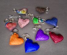 Load image into Gallery viewer, Bee In Style Purple Snakeskin Python Heart Key Holder and Charm