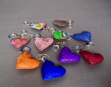 Load image into Gallery viewer, Bee In Style Blue Cobalt Snakeskin Python Heart Key Holder and Charm