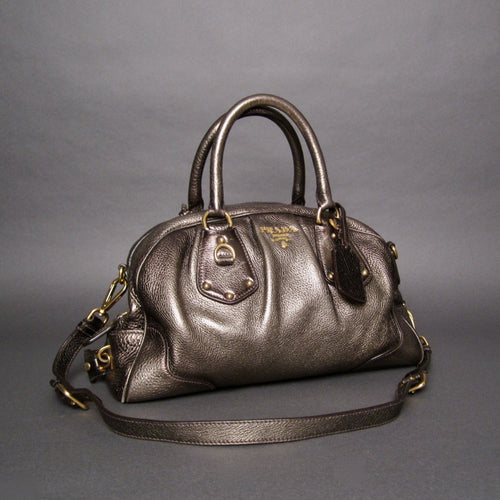 Prada Vitello Daino Metallic Bronze Pebbled Leather Satchel