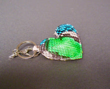 Load image into Gallery viewer, Bee In Style Multicolor Snakeskin Python Heart Key Holder and Charm